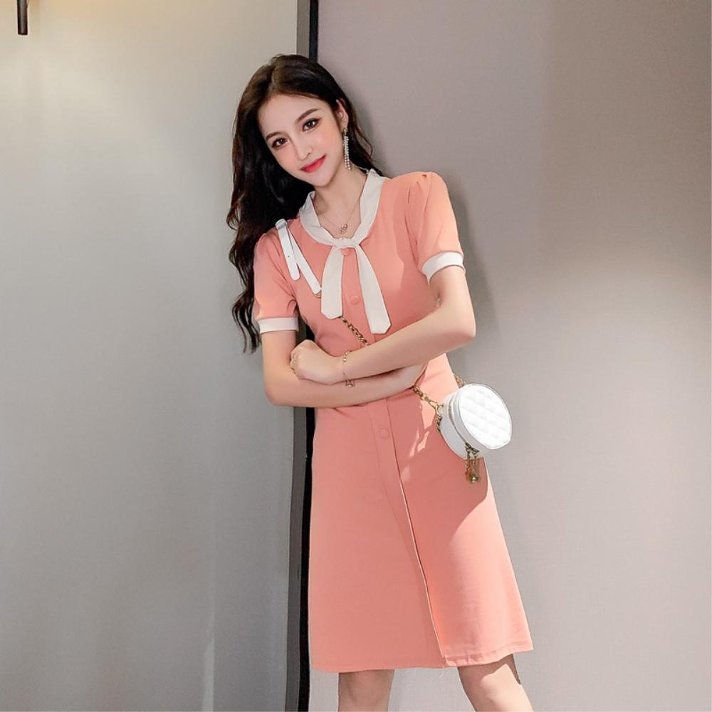DABI 韓系領口系帶純色收腰短袖洋裝