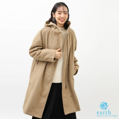 earth music 素面連帽落肩剪裁大衣外套