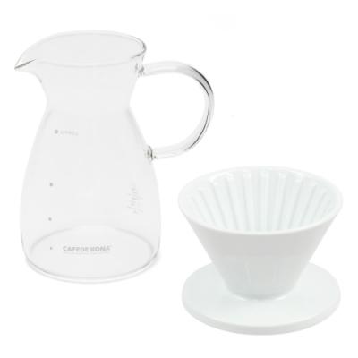 CAFEDE KONA 波佐見燒 HASAMI 時光陶瓷濾杯01分享壺組-白