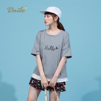 【Dailo】HELLO標語短袖舒適-上衣(三色)