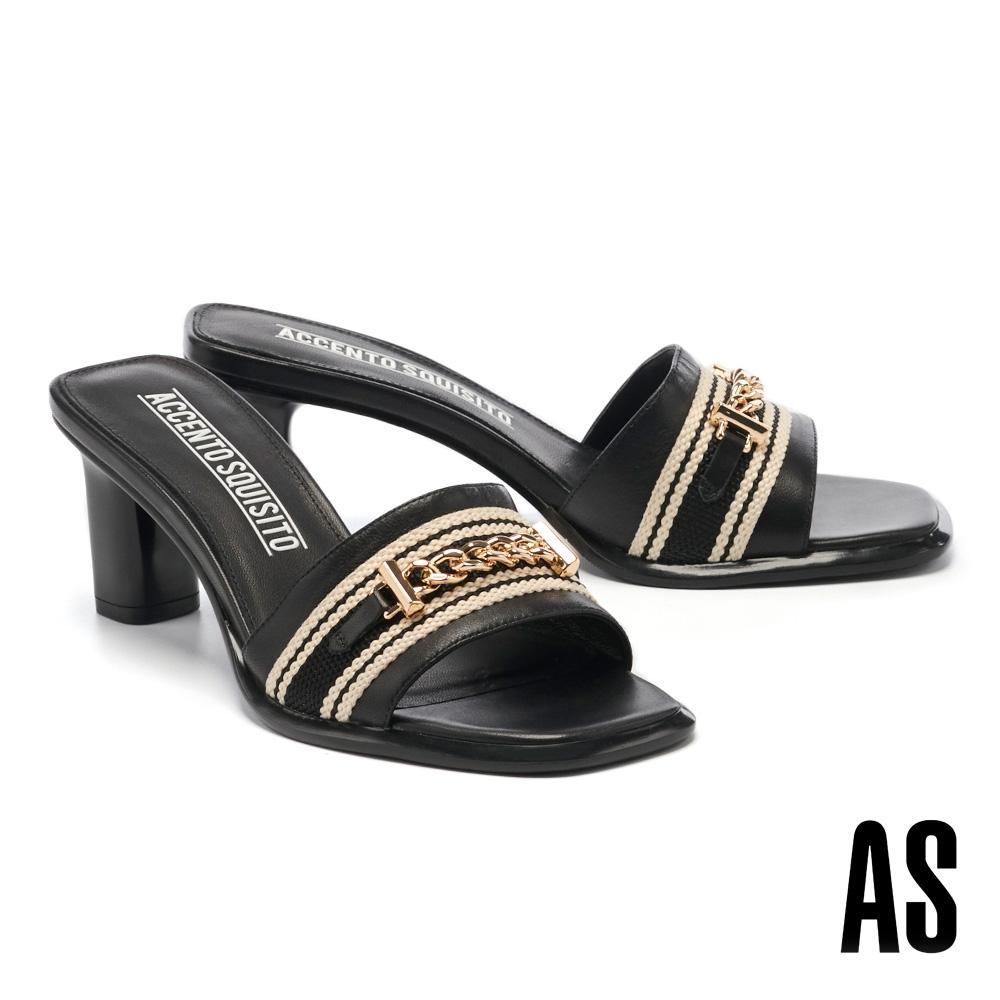 拖鞋 AS 金屬鏈條撞色織帶羊皮一字高跟拖鞋-黑