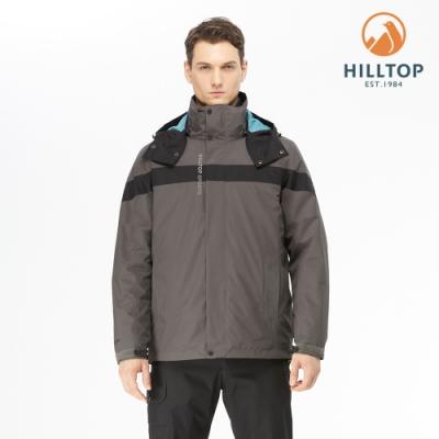 【hilltop山頂鳥】男款GORE-TEX防水透氣二合一保暖科技棉外套F22MY1鐵灰/黑