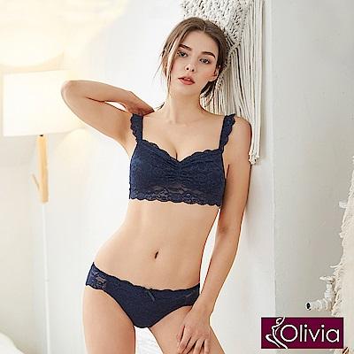 Olivia 無鋼圈全蕾絲薄款抹胸內衣褲套組-藍色