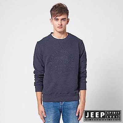 JEEP 簡約立體浮雕圖騰休閒長袖TEE -藍色