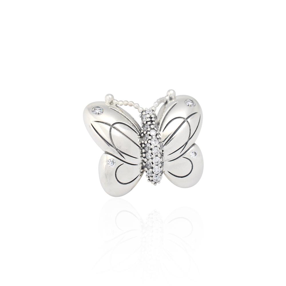 Pandora 潘朵拉 魅力鑲鋯蝴蝶 純銀墜飾 串珠