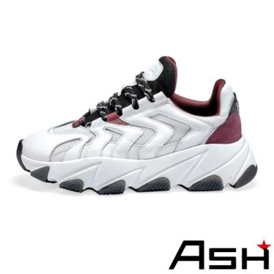 ASH-EXTREME時尚潮流波浪纹拼接增高厚底老爹鞋-黑白