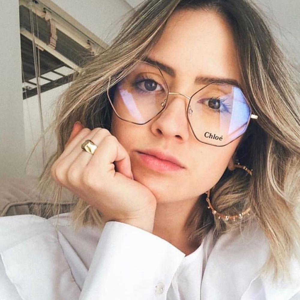 Chloe眼鏡 時尚潮流 多邊設計款/象牙-金 #CE2134 743
