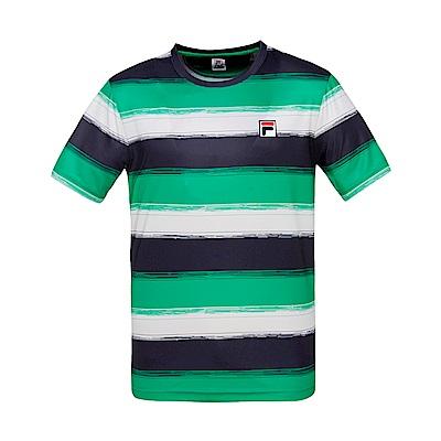 FILA男條紋圓領T恤-綠 1TES-5012-GN