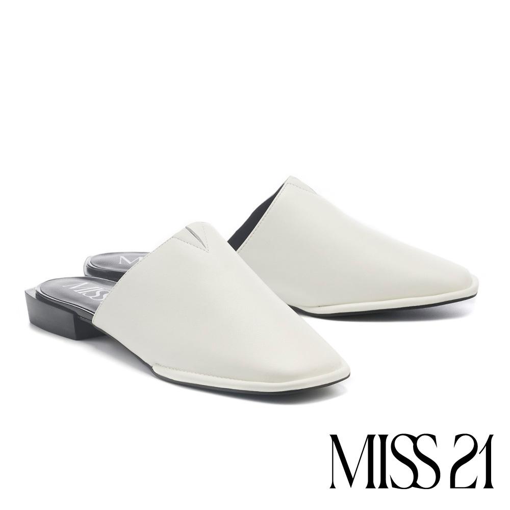 穆勒鞋 MISS 21 知性慵懶牛皮低跟穆勒拖鞋-白