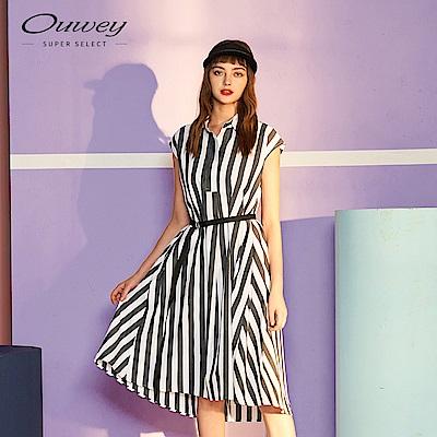 OUWEY歐薇 綁帶條紋洋裝(黑)