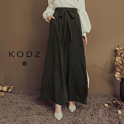 東京著衣-KODZ 專業氣勢必備質感綁帶設計寬褲-S.M.L(共一色)