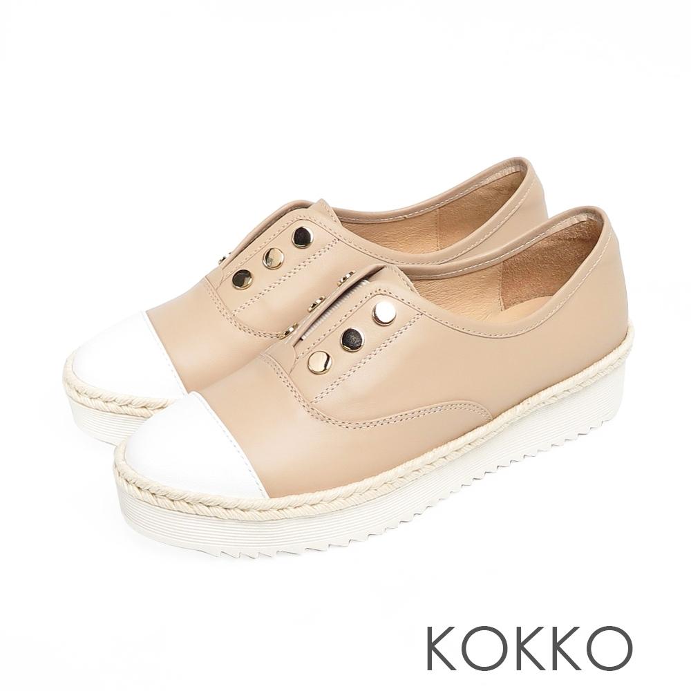 KOKKO - 簡約牛皮鉚釘厚底草編休閒鞋-奶茶色