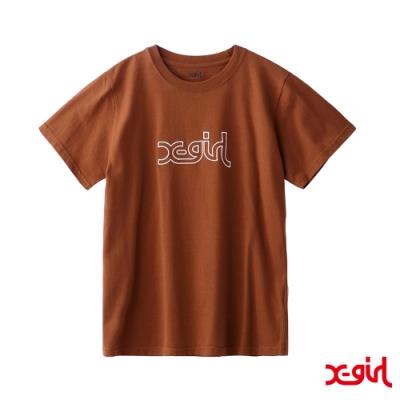 X-girl GLITTER MILLS LOGO S/S REGULAR TEE短袖T恤-咖啡