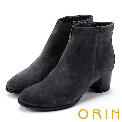 ORIN 經典儁永 素面牛麂皮粗跟踝靴-灰色