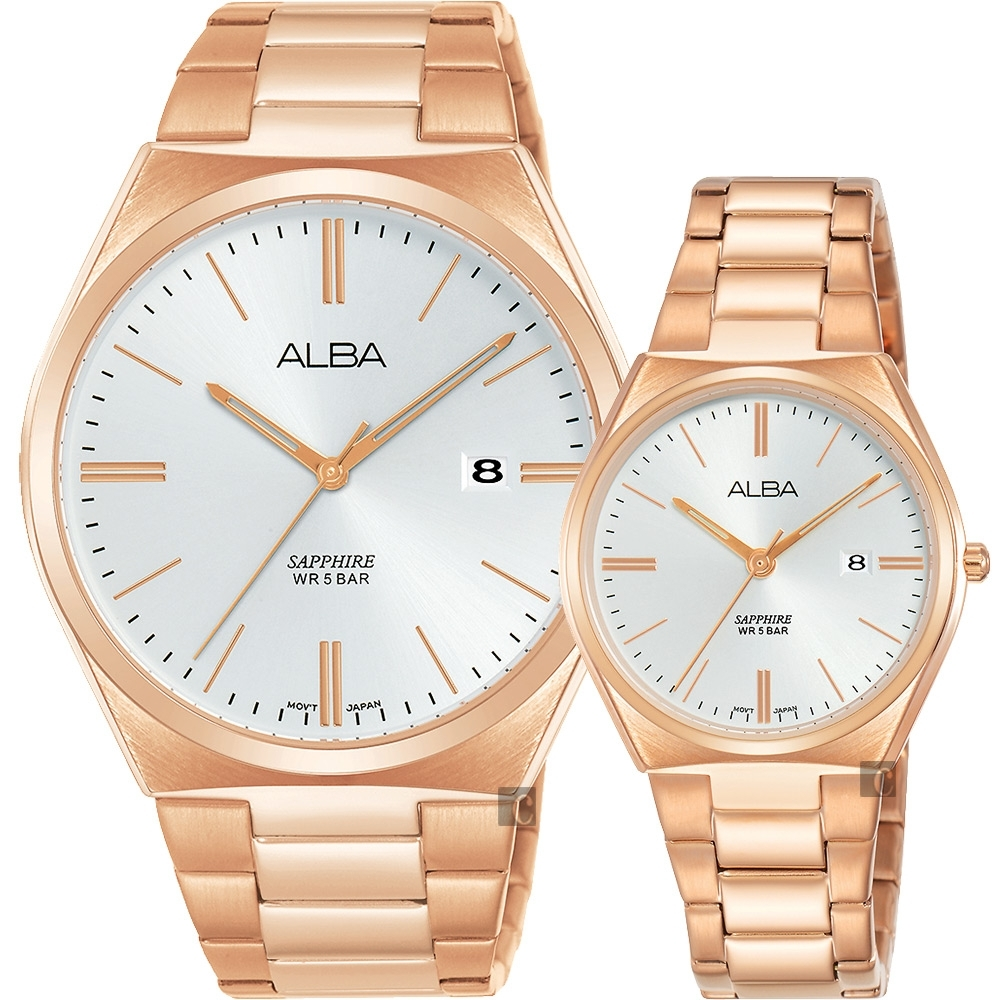 ALBA 雅柏 東京情人時尚對錶(AS9J60X1+AH7T36X)-銀x玫塊金/41+30mm