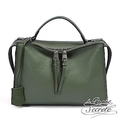 La Poche Secrete 側背包 真皮皮飾流蘇垂墜包-森林綠