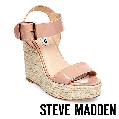STEVE MADDEN-SANTORINI 一字草編楔型高跟涼鞋-粉紅