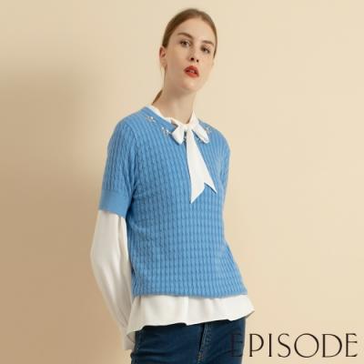 EPISODE - 領口鑽飾短袖圓領針織上衣
