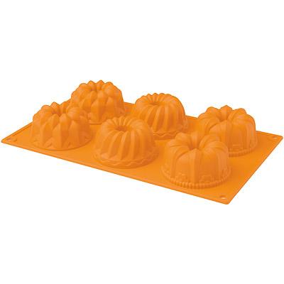 EXCELSA Sweet 3in1六格矽膠薩瓦蘭烤盤(橘)