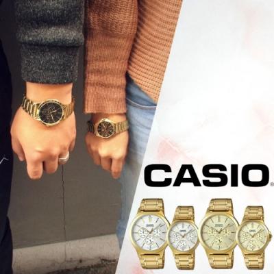 CASIO卡西歐 復古簡約三眼鍍金錶(V300G)