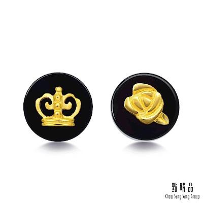 點睛品 吉祥系列 貴族生活 黑玉髓黃金耳環