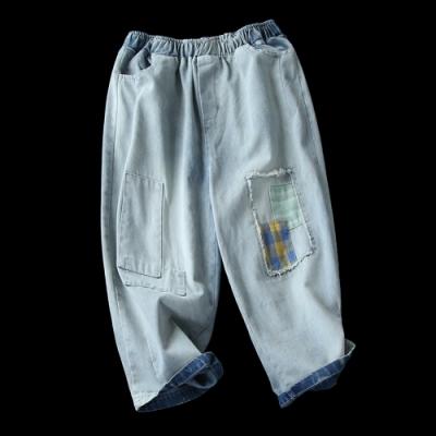 水洗做舊純棉毛邊貼布牛仔哈倫七分褲-設計所在