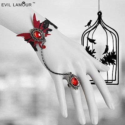 摩達客 萬聖派對飾品-哥德風蝴蝶吸血鬼紅寶手鍊帶戒指