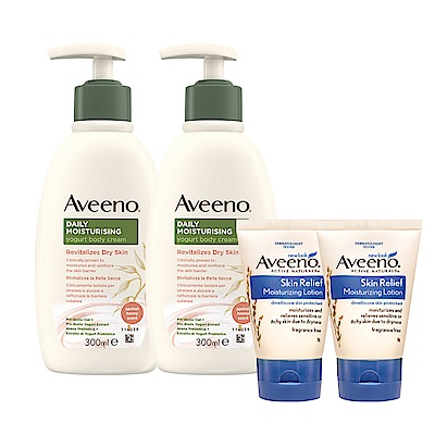 [超取滿390登記送60]艾惟諾Aveeno蜂蜜杏桃優格保濕乳(買2送2)(300ml*2+高效保濕乳30g*2)-多款任選