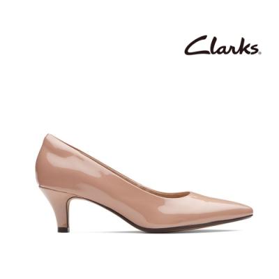 Clarks 都會女伶 全真皮微尖頭粉色漆皮低跟鞋 淡粉色