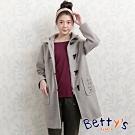 betty's貝蒂思 連帽毛呢刺繡牛角釦大衣(淺灰)