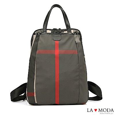 La Moda 簡約大方防潑水超大容量後背包(格紋)