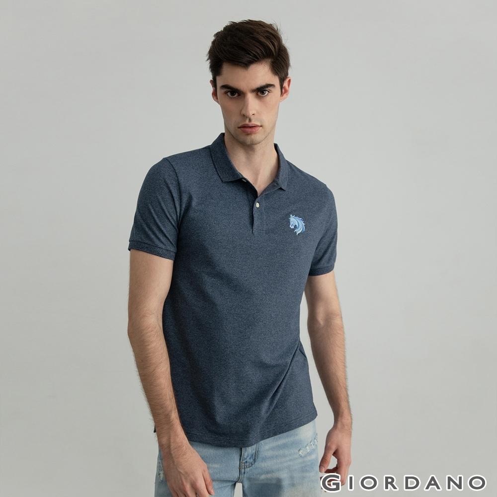 GIORDANO  男裝簡約刺繡馬頭POLO衫 - 10 藍白混色紗