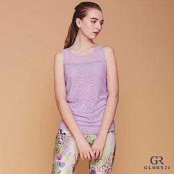 GLORY21 花卉蕾絲透膚背心_紫