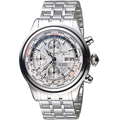 BALL波爾Trainmaster世界時間GMT計時機械錶(CM2052D-SJ-SL)銀