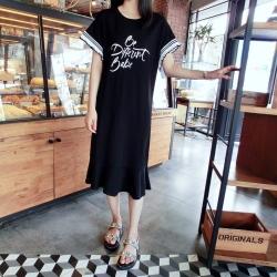 La Belleza圓領英文字白色荷葉黑白條紋滾邊袖棉質魚尾裙擺洋裝