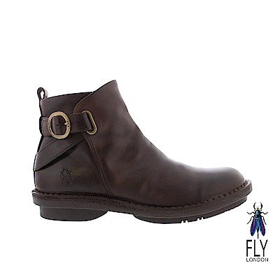 Fly London(女) NEW YORK 牛皮圓扣帥氣拉鍊短靴 - 樹根咖 @ Y!購物