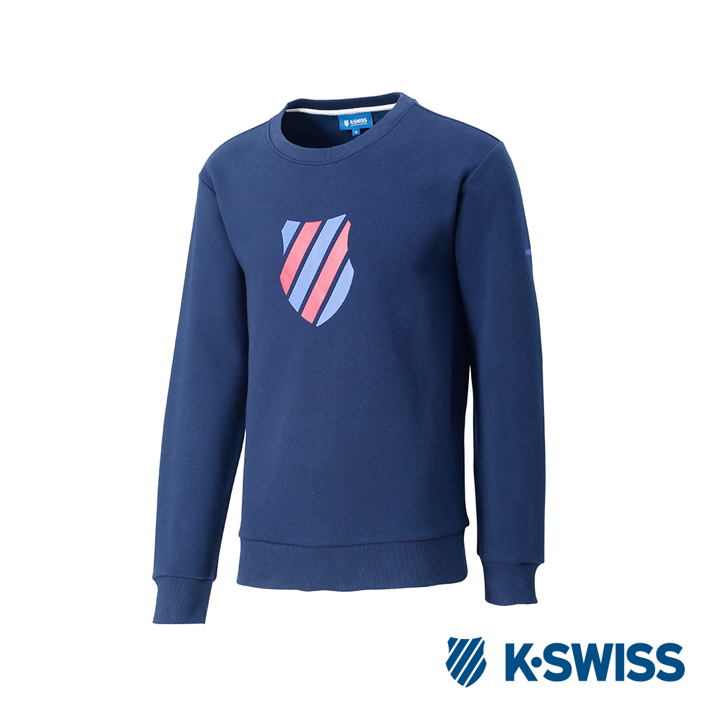 K-SWISS Crew Neck Sweatshirt 刷毛圓領上衣-男-藍