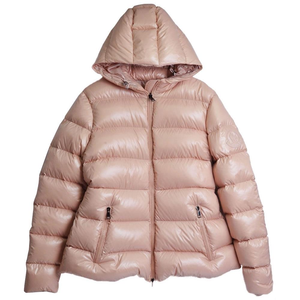 MONCLER RHIN Giubbotto 系列經典羽絨車縫鮭魚粉連帽外套(3號/女款)