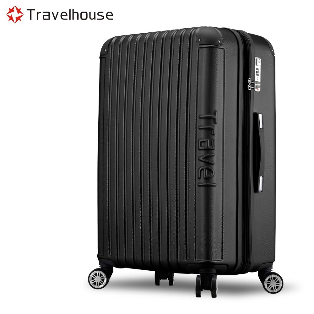 Travelhouse 戀夏圓舞曲 24吋平面式箱紋設計行李箱(經典黑)
