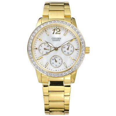 CITIZEN 星辰表 珍珠母貝晶鑽鑲圈日期星期不鏽鋼手錶-銀白x鍍金/35mm @ Y!購物