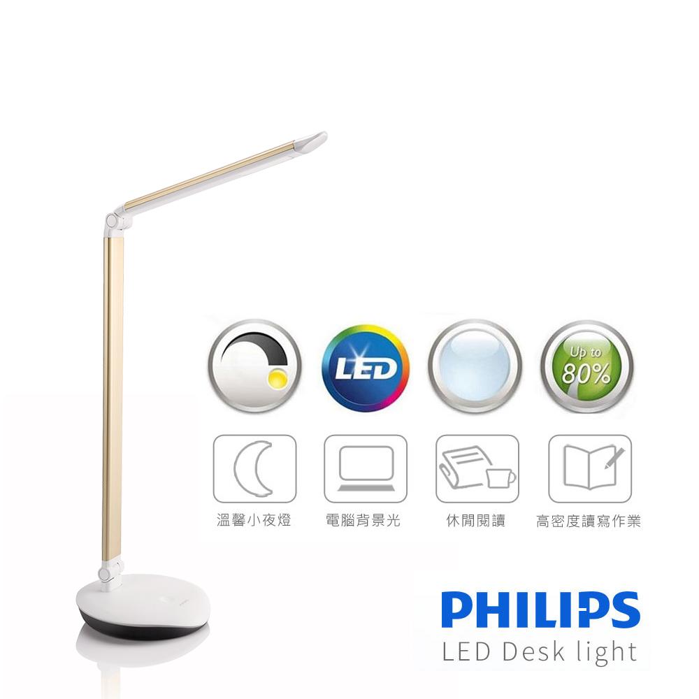 【飛利浦 PHILIPS LIGHTING】LEVER酷恆LED檯燈(金色)72007