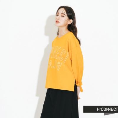 H:CONNECT 韓國品牌 女裝-logo印字五分袖上衣-黃