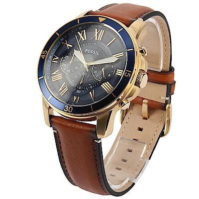 FOSSIL 羅馬時標三眼計時皮革腕錶-(FS5268)-43mm