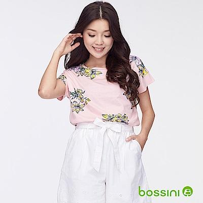 bossini女裝-圓領短袖印花上衣03粉色