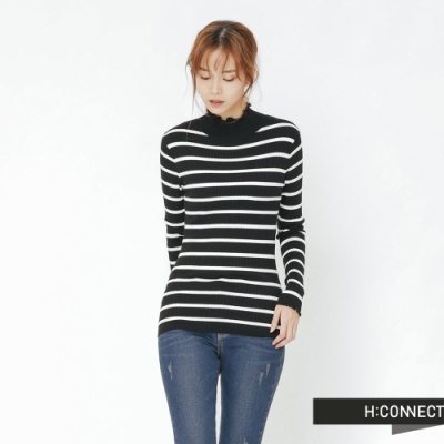 H:CONNECT 韓國品牌 女裝 - 捲邊條紋合身上衣-黑(快)