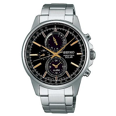 SEIKO SPIRIT簡約率性太陽能計時腕錶/黑面x玫瑰金/V198-0AC0K