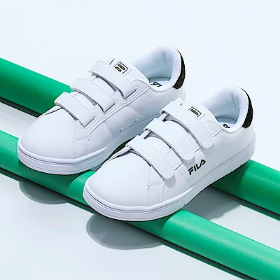 FILA 韓版魔鬼氈復古小白鞋(男)-白綠