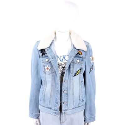 UGG 創意拼貼藍色牛仔外套(毛領可拆)