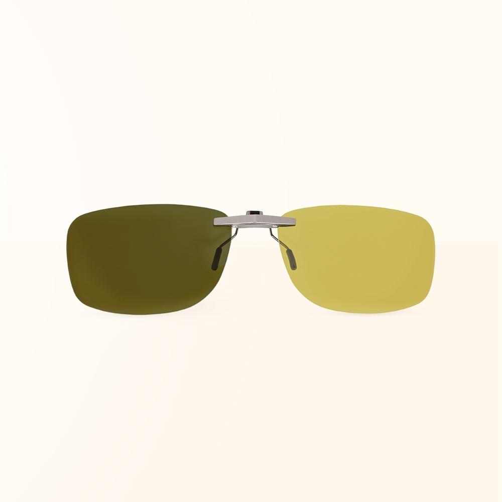 ALEGANT檸檬黃鋁鎂合金夾式結構感光變色夜視防眩光寶麗來偏光太陽眼鏡/UV400墨鏡/車用夾片/外掛夾式鏡片