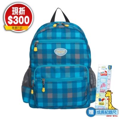 【IMPACT】彈力氣墊幼稚園書包-格紋馬賽克-藍 IM00R08RB